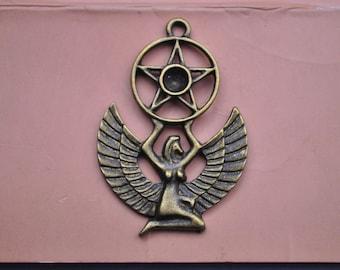 12pc of Antique Bronze Beautiful Nymph Charm Pendant Drop  49x35mm