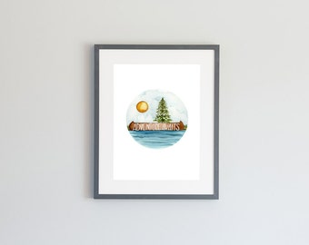 Hand Painted Watercolor Archival Giclée Print - Adventure Awaits - Canoe