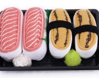Sushi Socks Box 2 pairs Salmon Tamago Cool Gift Present Gadget