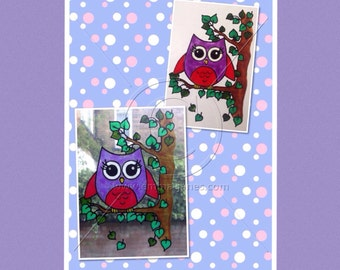 Owl in tree window cling, cute hand painted decoration for glass & mirror surfaces, reusable static cling faux stained glass decal