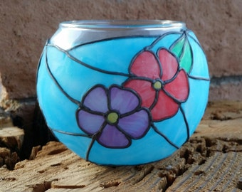 Votive candle holder - stained glass motif