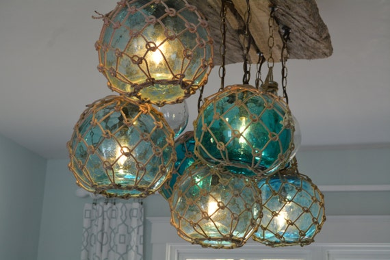 vintage glass fishing float light fixture chandelier with 7, Reel Combo
