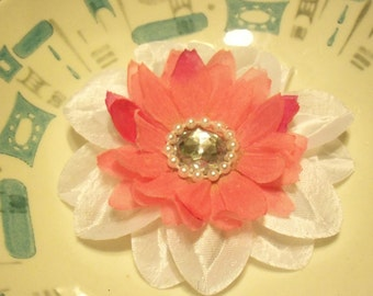 """lovely 4"""" white and rose pink layered flower clip"""