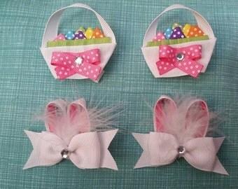 Handmade Easter Basket & Bunny Hair Clips
