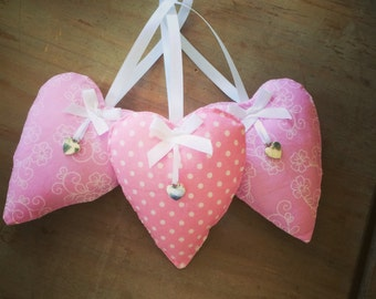 Pink Fabric Hanging hearts. Shabby Chic. Home Decor. Living Space. Bedroom decor . Vintage