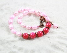 PINK SAND - Beaded Anklet Beaded Summer jewelry Gift for Her