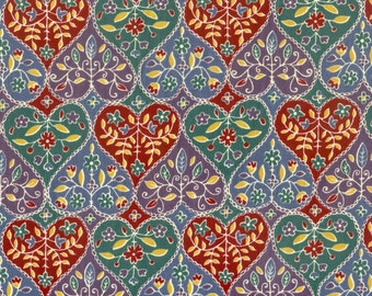 Parallel hearts poly/ cotton fabric, sold by the yard.