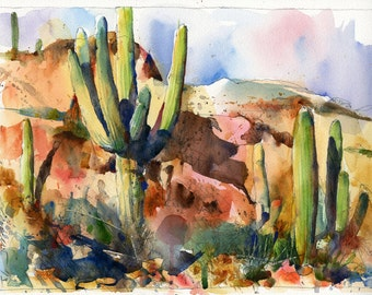 "Saguaros, Apache Junction, AZ - 12"" x 9"" Watercolor on Paper"