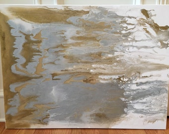 SOLD! Large Acrylic Abstract Painting with Metallic Gold and Silver Neutral Art