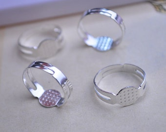 Silver Plated Rings-20pcs Metal Adjustable Ring Base With 8mm Round Pad