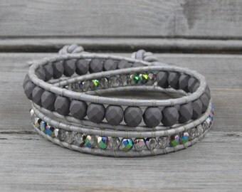 Iridescent Grey Wrap Bracelet