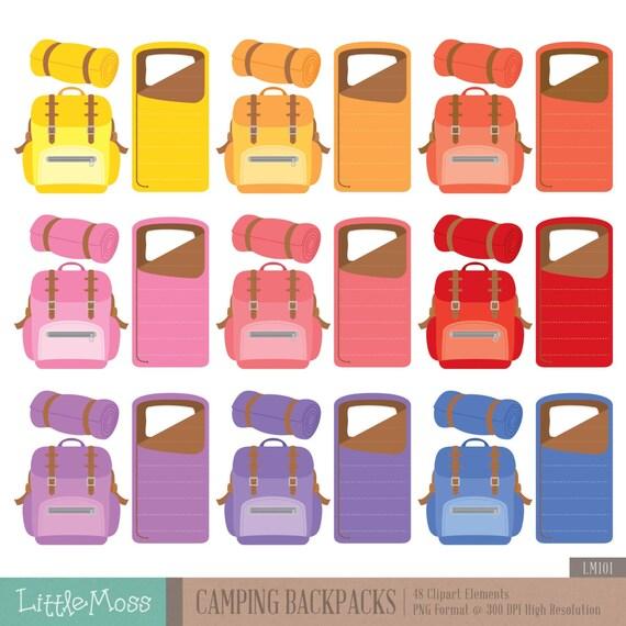 Camping Backpacks Digital Clipart Sleeping Bag From LittleMoss On Etsy Studio