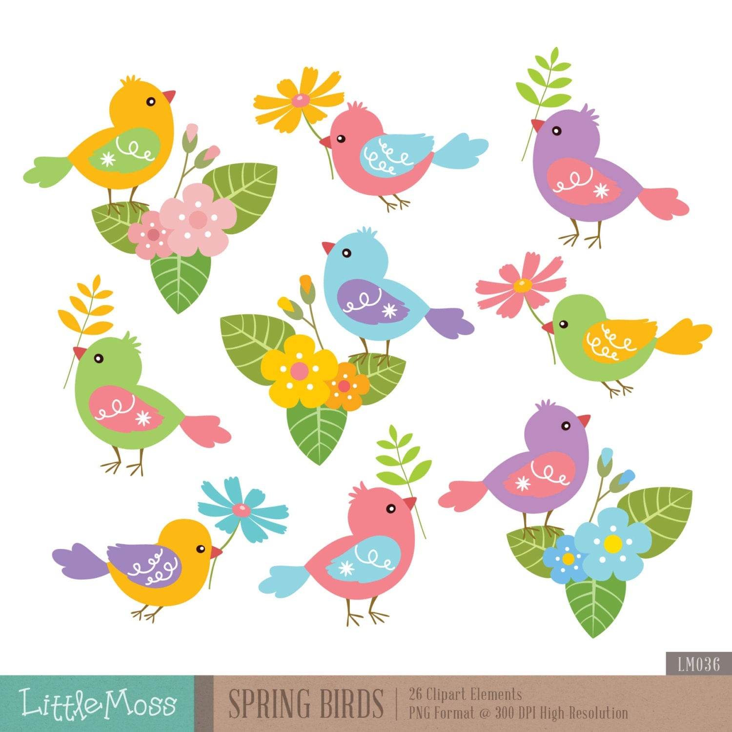 spring birds digital clipart bird clipart flower clipart