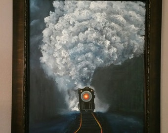 Midnight Train Original hand Signed Oil on Canvas