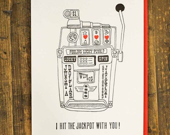 Hit The Jackpot Letterpress Greeting Card