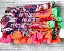 Personalised Sunshine Tassel Beach Wrap. Patterned Scarf. Personalized Beach Clothes. Multi Coloured Beach Wear. Personalized Beachwear.