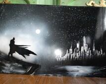 Bat man poster Spray Paint Art New York Skyline in Black colors