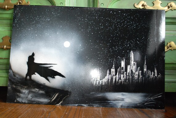 items similar to bat man poster spray paint art new york skyline in. Black Bedroom Furniture Sets. Home Design Ideas