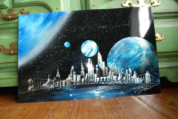 items similar to handmade poster spray paint art newyork. Black Bedroom Furniture Sets. Home Design Ideas