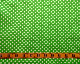 Green Dot Cotton Fabric By The Yard, Green Dot Quilting Cotton Fabric, Green Dot Fabric, Green Cotton Material with White Polka dots, c1-003