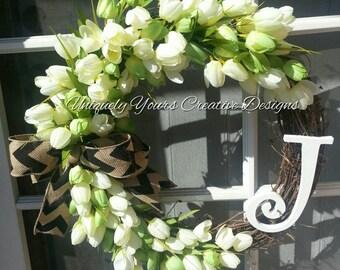 Tulip Monogram Wreath with Chevron Burlap Bow, Tulip Wreath, Grapevine Wreath, Monogram Wreath, Initial Wreath, Burlap, Personalize Gift