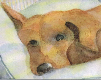 5 Blank Note Cards - Hound, Cute Dog Cards, Thank You cards, Birthday cards, Invitations, Greeting Card, Pet Lover Gift, Watercolor Card, K9