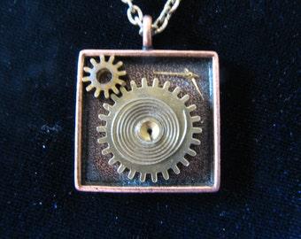 Necklace: Square Steampunk Pendant