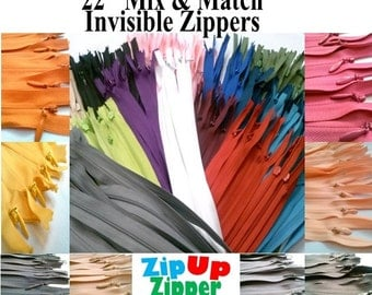 INVISIBLE Zippers 22 Inches Mix And Match Colors