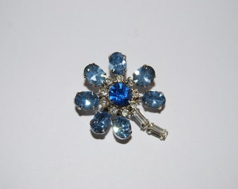 Vintage Sapphire, Light Blue and Clear Rhinestone Flower Brooch