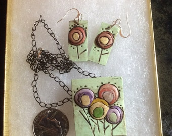 Polymer Clay Mod Tree Necklace and Earring Set #8