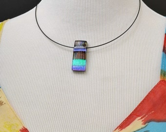 Colorful Dichroic Glass Pendant, Woman's Necklace, Fused Glass Jewelry, One Of A Kind, Handmade