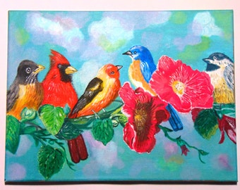Original acrylic painting canvas Birds in the tree 11 x 15
