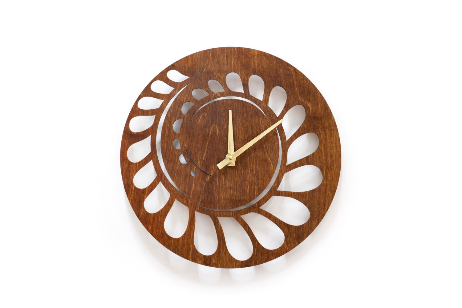 Wall clock spiral laser carved wood