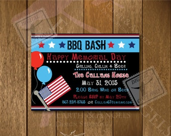 BBQ Bash Happy Memorial Day, Happy Fourth of July Invitation 5x7x