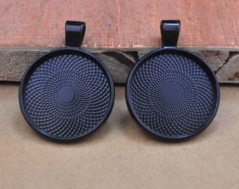 1 inch (25mm) Round Black Pendant Tray Blank,Blank Bezel Cabochon DIY Pendants,Shiny,Vintage,Picture frame Pendants.