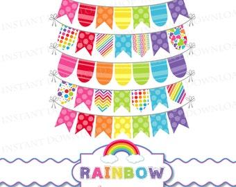 INSTANT DOWNLOAD Rainbow Bunting, Rainbow Banner, Digital Rainbow Banner, Rainbow Scrapbooking, Digital Rainbow, Rainbow Clipart, Rainbows