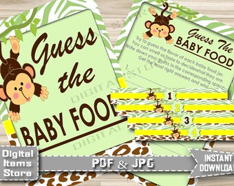 Printable Guess The Baby Food Monkey - Baby Shower Guess The Baby Food Game Junkgle for Boy for Girl - Instant Download - jm1
