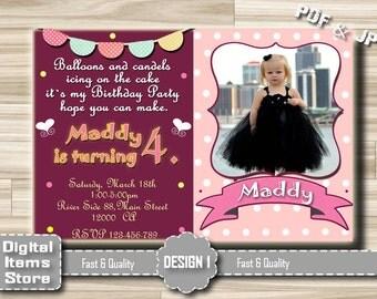 Birthday Party Invitation Girl - girl birthday invitation - Pink birthday girl invitations with polka dots and chevron - Chalkboard Girl