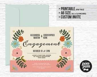 Flower Garden Invitation - PRINTABLE DIGITAL FILE