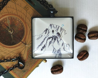 necklace ...freeSolo..., handdrawn picture story toTheEndOfTheWorld, cabochon, black