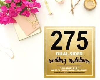 275 DUAL-SIDED Wedding Invitations w/Envelopes