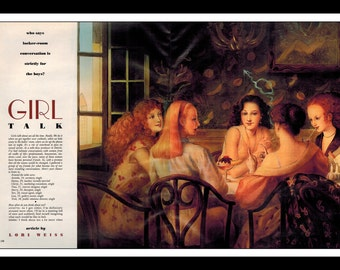 "Kinuko Y. Craft Illustraion Playboy Vintage Pinup ""Girl Talk"" Wall Art Deco Print 2 page spread"