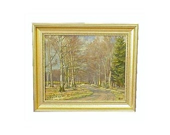 Landscape Trees Oil Canvas Scandinavian Signed A I 1930