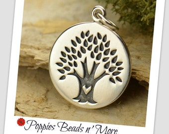 Sterling Silver Tree with Heart Disc Charm