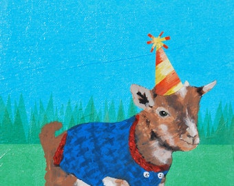 Baby goat in party hat - Wall art