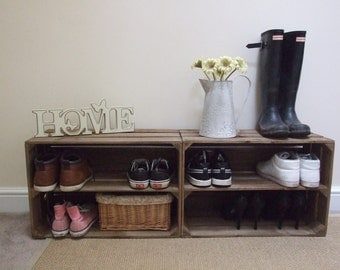 2 x Shabby Chic Handmade Wooden Apple Crate Shoe Rack, Rustic, Vintage, Style Shoe or Display Shelf FREE DELIVERY