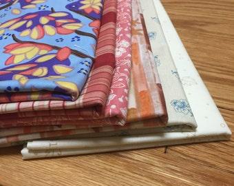 SALE ! - 6 Half Yard Fabric Bundle Orange/Pink/Red Theme (3 yards of total fabric, or 12 fat quarters), 100% premium cotton quilting bundle