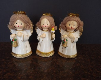 Set of 3 Vintage (Circa 1960s) Angels w. Yarn Hair