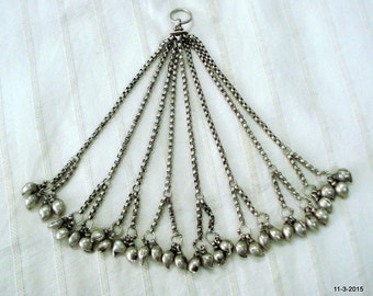 vintage antique tribal old silver pendant mango beads necklace