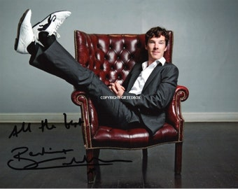 Limited Edition Benedict Cumberbatch Signed Photo + Cert PRINTED AUTOGRAPH Sherlock Holmes